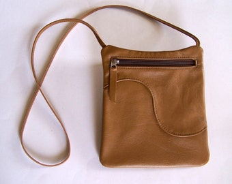 Leather Purse - Yellow-Brown Leather Handbag - Rectangular Cross Body Style Festival Bag