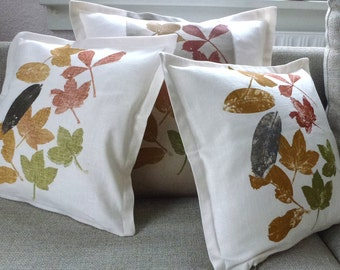 cushion covers/set of 3/pillow case/cushion/scatter cushion/decorative pillow/sofa cushion/green/white/orange/forest/leaf/home interior/fall