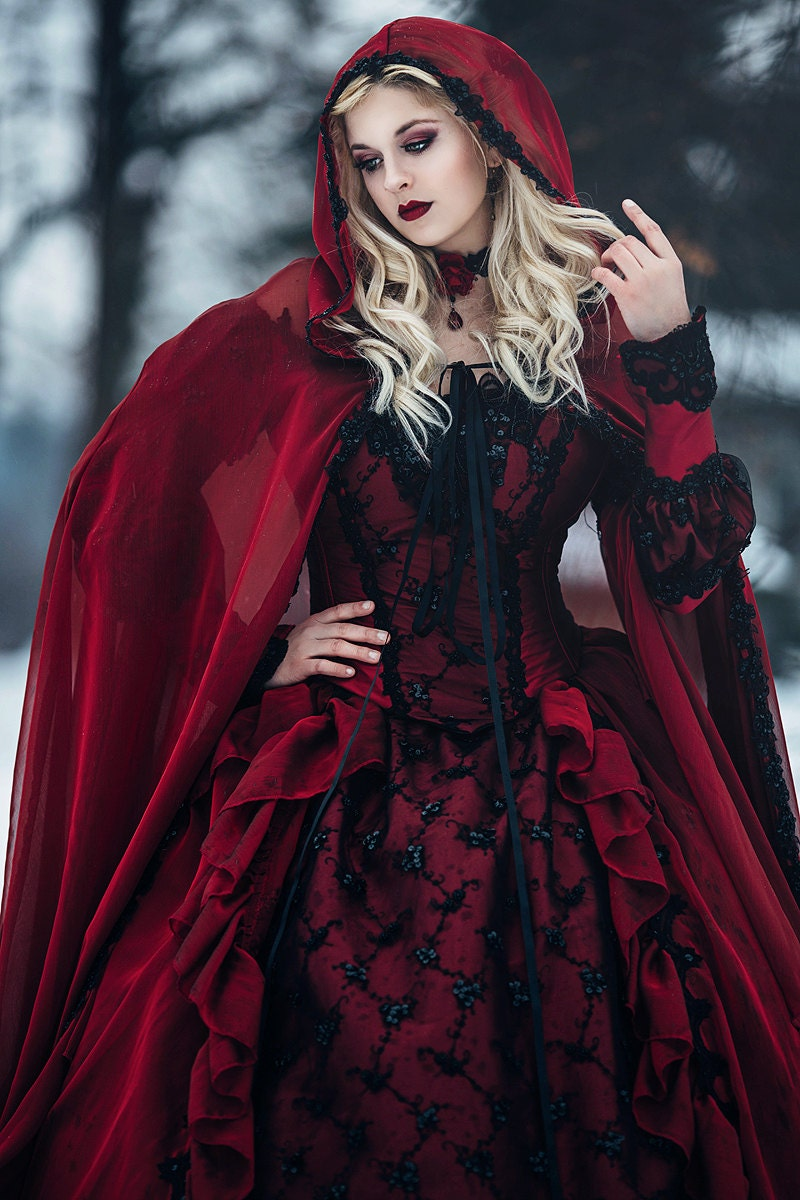 Gothic wedding sleeping beauty red and black sparkle fantasy for Red and black wedding dresses