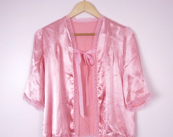 1930s Pink Satin Bed Jacket M/L Deadstock