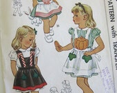 1940s Vintage Apron Sewing Pattern with Applique Transfer Child's Pinafore Apron Christmas Easter Bunny Fall Pumpkin / Uncut Size 6-8