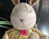 Petunia Rabbit, Primitive and Vintage Style Rabbit Doll, Bunny Rabbit