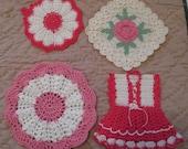 Set of Four (4) vintage Kitchen Pot Holders Pinks Dress Pink Shabby
