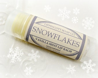 Snowflakes Lip Balm - Christmas Lip Balm - Vanilla Mint Lip Balm - Unsweetened Lip Balm - Handmade Lip Balm - All Natural