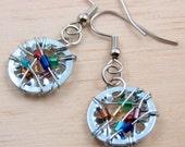 Steampunk Dangle Earrings Dangle Earrings Wire Wrapped Multi color Beads Hardware Jewelry Industrial