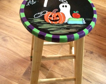 Whimsical Painted Furniture, painted bar stool // teacher theme halloween stool