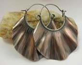 Large Copper Earrings, Copper Hoop Earrings, Wave Hoops, Copper And Sterling Silver Mixed Metal Earrings, Artisan Jewelry, Boho Earrings