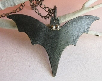 Copper And Sterling Silver Black Bat Necklace, Bat Jewelry, Halloween Jewelry, Goth Necklace, Goth Jewelry, Halloween necklace