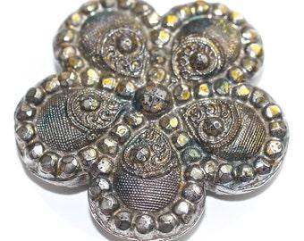 Button - Black Glass Scalloped  - Medium
