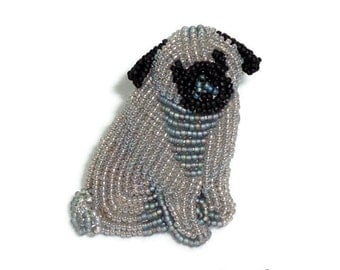 Sale: PUG TAILS gray beaded keepsake dog pin pendant art brooch Jewelry Gift for Her / Ready to Ship