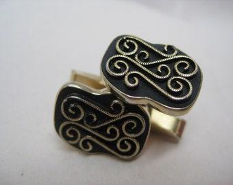 Gold Modern Black Cuff Links Vintage