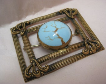 Art Nouveau Blue Brass Brooch Vintage Pin Robbins Egg Tree