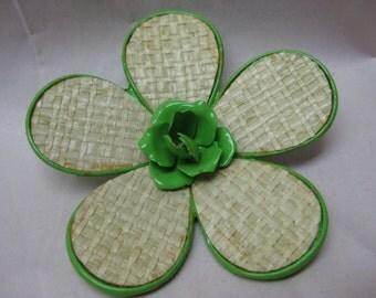 Flower Brooch Green Tan Woven Enamel Vintage Pin