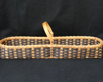 Hand Woven Basket with swing handle in dark golden oak and black.  Storage Basket. Basket.Traditional baskets in different shapes and sizes.