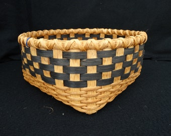 Hand Woven Basket in traditional style with wood base. Storage Basket. Walnut with Black. Basket. Hand made baskets in traditional design.