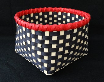 Basket. Hand Woven Basket in Black and White with Red rim. Storage Basket.  Hand Made Baskets in fun colors!