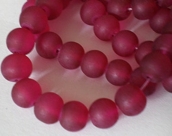 25pcs - 8mm Frosted Red Garnet matte round Glass beads