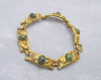 Vintage Bracelet Bamboo Links Gold Filled Jewelry B6194