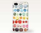 Retro Phone Case. Hard Case for iPhone 4/4S, 5/5S, 5c, 6, 6 Plus and Samsung Galaxy S3, S4 - Button Rainbow
