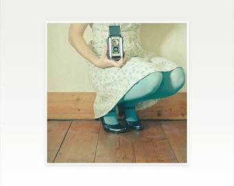 Portrait Photography, Female Figure, Romantic Art, Cream, Turquoise, Pastel, Feminine Decor, Bedroom Art, Camera Art - Play