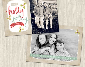 Holly Jolly Holiday Photo Card | Photoshop Templates | Great for Photographers and Scrapbookers | Instant Download | CS6025a