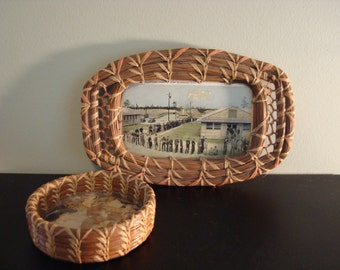 Pair of beautiful vintage pine needle woven baskets for ONE price