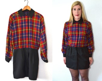 20 DOLLAR SUPER SALE! Red Plaid Dress - Peter Pan Collar Dress - Plaid Peter Pan Dress