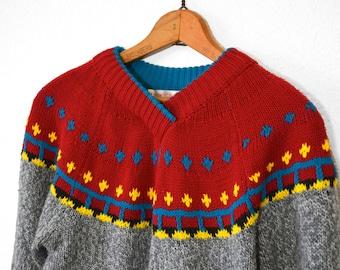 20 DOLLAR SUPER SALE! Grey Fair Isle Sweater -Chunky Knit Sweater -Grey Sweater - Holiday Sweater