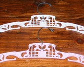 Adorable Mid Century Vintage Childs Pink Hangers set of 2 with Lambs Sheep