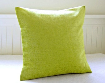 lime green accent cushion cover velvet chenille, 16 inch lime green pillow cover