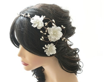 Wedding flower head wreath, woodland crown, white flower headpiece, wedding hair accessory