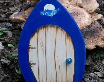 Magic Fairy Door Gothic Magical Portal Blue with Clouds and Full Moon 6 inches