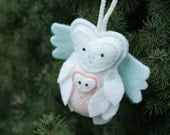 Remembrance Keepsake Ornament Guardian Angel Owl Holding Baby, Felt Christmas Ornament Keepsake Handmade by Ordinary Mommy Design