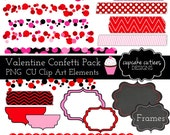 Valentine Confetti - Red Pink Overlays and  Digital Clipart Elements Commercial use Instant Download