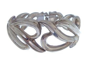 Vintage Silver Bangle Bracelet, Wide Tendril Cuff, 1940s Designer Vintage Clamper, Fine Vintage Jewelry