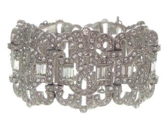 Art Deco Bracelet, Vintage Rhinestone, Statement Bracelet, Geometric Link, Fine Antique Designer 1920s Art Deco Jewelry, Wedding Jewellery
