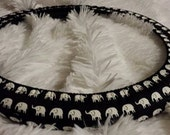 Last Two | One!  Fully Lined Steering Wheel & Seat Belt Covers * A Favorite! * Elephants White on Black *