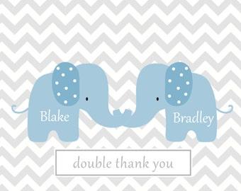 Chevron note custom  card twins chevron notes  baby note cards custom personalized notes Grey chevron blue elephant