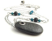 Riveted beach stone necklace, sterling silver and Lake Superior beach stone, statement necklace, ready to ship.