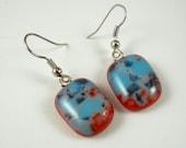 Handmade Blue Red Spash Earrings - Fused Glass Earrings - Fused Glass Jewelry - Nickel Free Earwires A1796B6