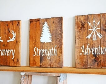 Reclaimed Wood Art, Rustic Nursery Decor, Woodland Decor, Bravery, Adventure Set, Rustic Childs Room Decor, Nursery Decor, Woodland Art