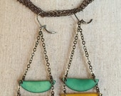 Yellow and sea green dangle earrings