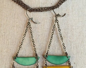 Yellow and sea green dangle earrings Other Colors Available