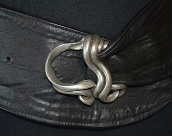 Artisian Farenheit NY Connie Bates Pewter and Leather Statement Belt. Scroll Design.