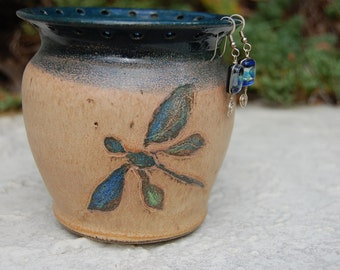 Pottery Dragonfly Earring Jewelry Holder Bamboo And Teal Glazes