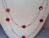 Mother of Pearl, Swarovski Pearl and Crystal Jewelry  -  2 Strand Necklace & Earring Set - Opera Length