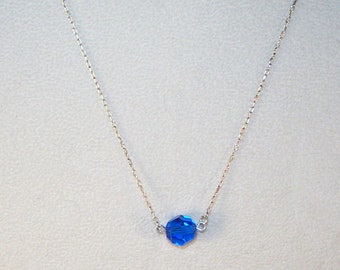 Capri Blue Swarovski Crystal Solitaire Necklace