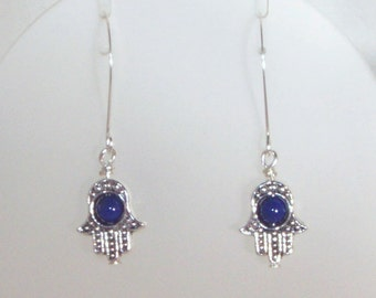Swarovski Crystal Jewelry - Earrings - Silver Hamsa with Dark Lapis Center