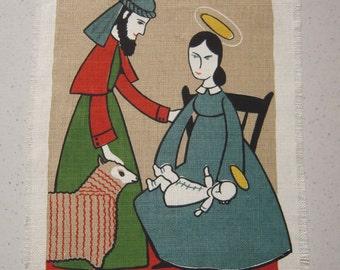 Vintage CHRISTMAS Textile Jesus Mary & Joseph