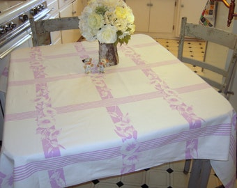 Vintage Tablecloth Lovely Lavender Morning Glories